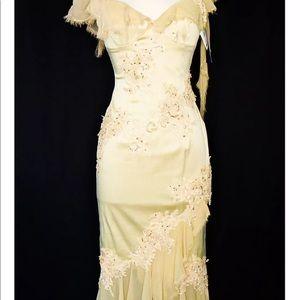 NWT Mandalay Dress Beige Beaded Lace Dress